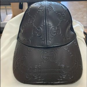 Gucci black embossed leather hat